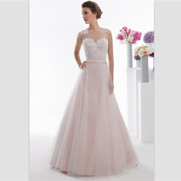 Light Pink Organza A Line Wedding Dresses 2018 Elegant Jewel Buttons Back Beach Bridal Dresses Customize Simple Lace Bridal Gowns With Belt