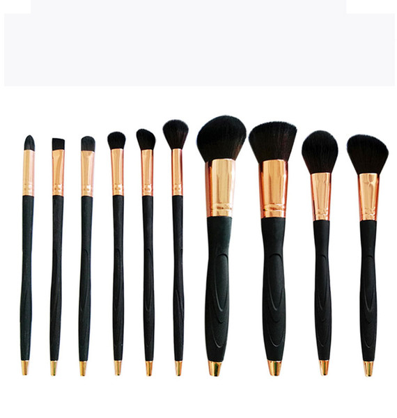 2018 New Arrival professional Cosmetics maquiagem makeup brush high quality Rose Gold 10pcs Microphone Glitter Makeup Brush Set