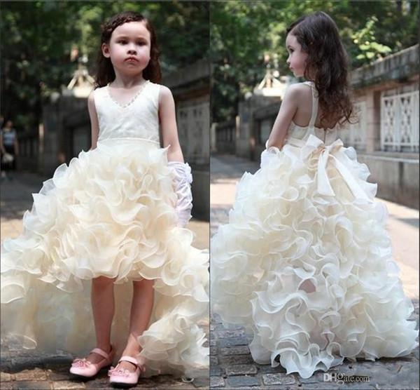 New Coming High Low Ruffles V Neck Ribbon Floor Length Sleeveless Cute Beautiful Wedding Dresses Flower Girl Dresses