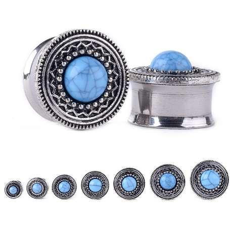 1 Pair 8-20mm Steel Ear Plugs Tunnels Blue Opal Stone Piercing Ear Plugs Earring Gauges Ear Expanders Rings Fashion Body Jewelry