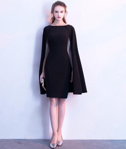 Compre 2018 Elegantes Vestidos De Noche Cortos Con Cape Scoop Vestidos De Noche De Sirena Formal Red Carpet Dresses Ropa De Noche Baratos A 6031 Del