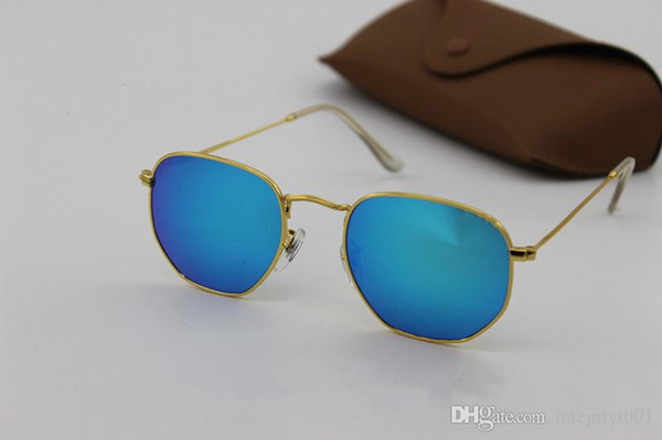 2018 High Quality Mens Womens Designer Sunglasses Pilot Sun Glasses Gold Colorful Flash Pink Mirror Glass Lenses Better Brown Cases
