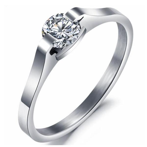 Cz diamant Zircon Anneau pour les femmes cadeau de mariage mariée bijoux de fiançailles en acier inoxydable Anneaux OR254