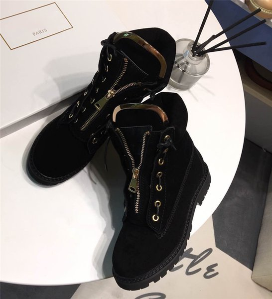 0Balmain25 Women Lace-Up Ankle Boots Side Zip Buckled Leather Boots Suede Low Heel Round Toe Gold-Tone Hardware Martin Shoes Luxury Brand 27