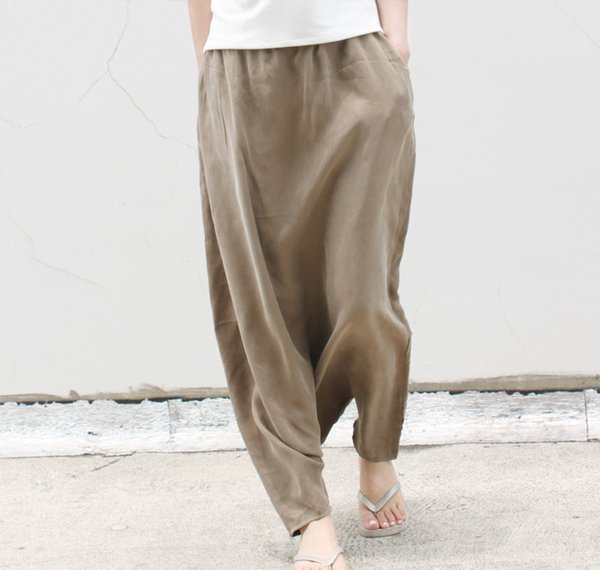 2017 large crotch pants hanging crotch pants culottes loose plus size silk cupro female 0219
