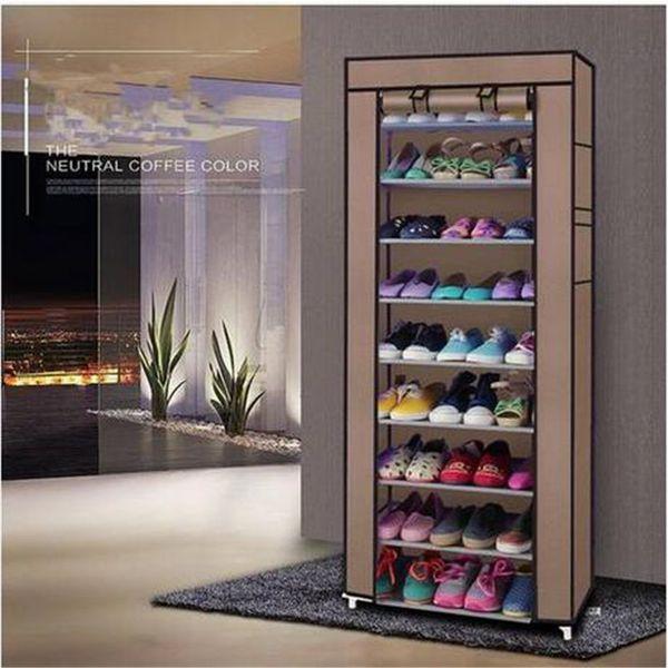 Toptan ücretsiz kargo Moda Odası-tasarrufu 9 Kafesler dokunmamış Kumaş Ayakkabı Raf Kahve Depolama Tutucular Rafları