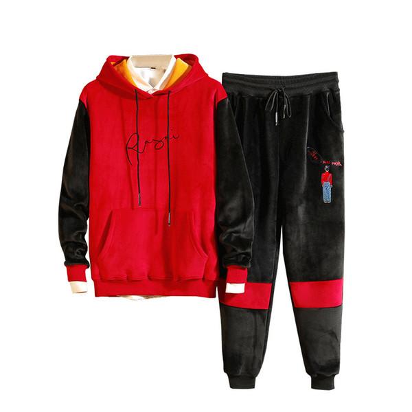 Großhandel Herren Sportswear Sets Herbst Winter Zweiteiler Trainingsanzug Verdicken Sweatshirt Hosen Männer Sportbekleidung Training Trainingsanzug