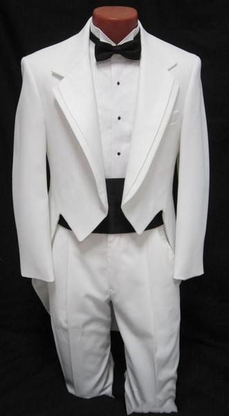 Costume personnalisé Hommes garçons blanc Tuxedo Costume de danse Tail Costume Tux Tails Manteau mariée costumes de mariage (veste + pantalon ++ ceinture + arc) Livraison gratuite