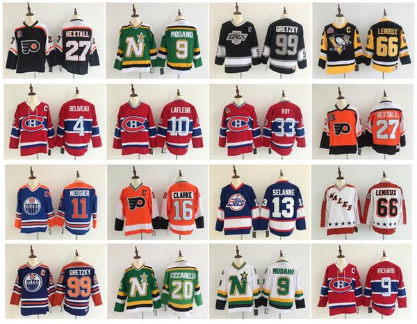 Vintage Ron Hextall Bobby Clarke Wayne Gretzky Mario Lemieux Teemu Selanne Philadelphia El ilanları Winnipeg Jetleri LA Angeles Kings Hokeyi Formaları