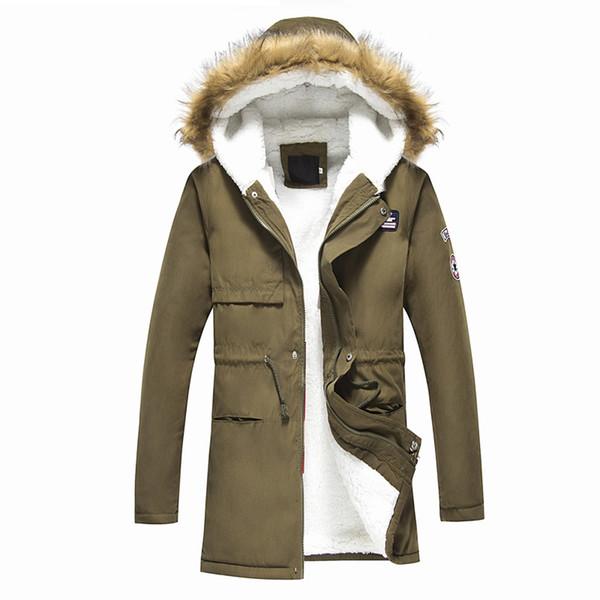 Cappotto maschile 2018 Giacca imbottita stile coreano maschile caldo Cappuccio invernale casuale Cappotti autunno Aggiungi il cashmere Parka pesante