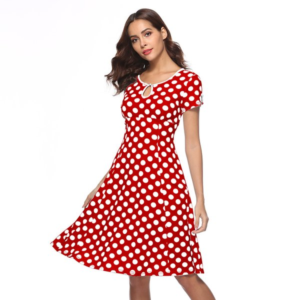 Women's Fashion Dresses Elegant Polka Dot Bodycon A-Line dress lady's dress short sleeve S M L XL 2XL black white red blue