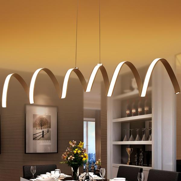 Compre Creativo Moderno LED Luces Colgantes Cocina Acrílico + Metal ...