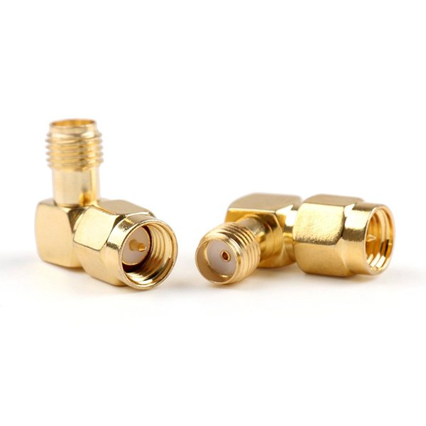 SMA Female Jack To SMA Male Plug 90 Degree Right Angle In Series RF Coaxial Coax Assembly Adapter Connector