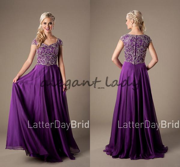 Sparkly Heavyly Perlen Mieder Lila Lange Modest Abendkleider Mit Kappen-hülsen Bodenlangen Prom Kleider Hohe Qualität Plus Größe