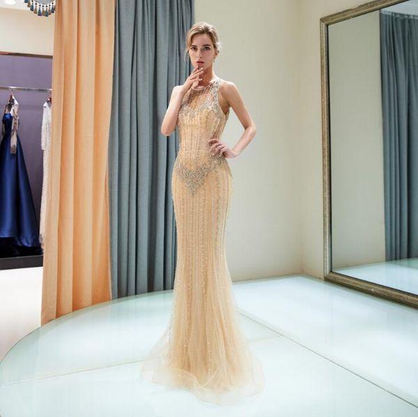 Vestido De Noiva Para Dia 2018 Cristal Ouro Sereia Em Estoque Azul Marinho Vestidos De Casamento Lantejoulas Elegante Do Casamento Vestidos De Noiva