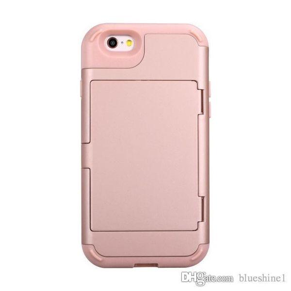 Coque arrière avec cache invisible pour iPhone 6 / 6s Coque de protection intégrale 3 en 1 résistant aux chocs et à l'épreuve des chocs avec porte-carte + Miroir iPhone 6 / 6s Plus