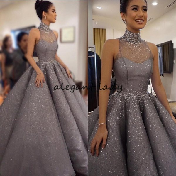 High Neck Beaded Sparkly Bling Prom Dresses Grey Illusion Neck Puffy Draped 2018 Holiday Designer Long Evening Party Gowns Crystals Pageant