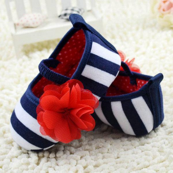 Wholesale- Kid Girls Spring Fashion Cute Toddler Stripe Flower Crib Shoes Soft Sole Baby Shoes Prewalker