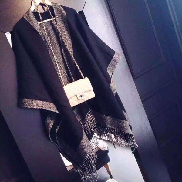 Women's Blanket Scrafs Double-Side  Fringe Cardigan Sweater Winter Hooded Outwear Wool Blend Cloak Poncho Cape
