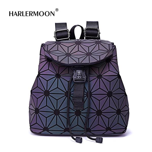 Harlermoon New Fashion Luminous Geometric Flower-Shaped Rope Backpack Drawstring Men Female Daily Backpack for Travel Hologram
