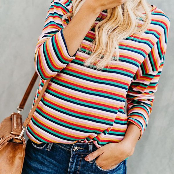 Women O Neck Long Sleeve Shirt Women Fashion Striped Printed Batwing Sleeve T Shirt Female Autumn Casual T-shirt For