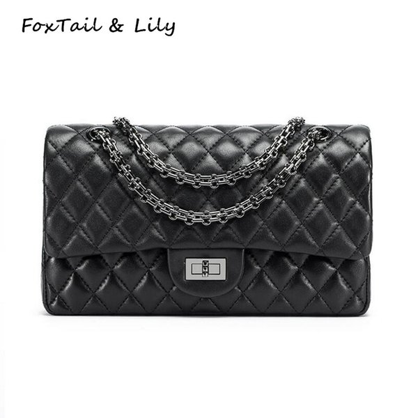 FoxTail & Lily Soft Sheepskin Fashion Quilted Chain Crossbody Bag Women Genuine Leather Shoulder Messenger Bags Luxury Handbags