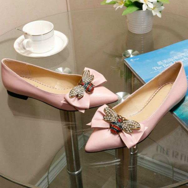 New pointed thick with women's shoes leather bee elegant temperament sandals designer top luxury high heels