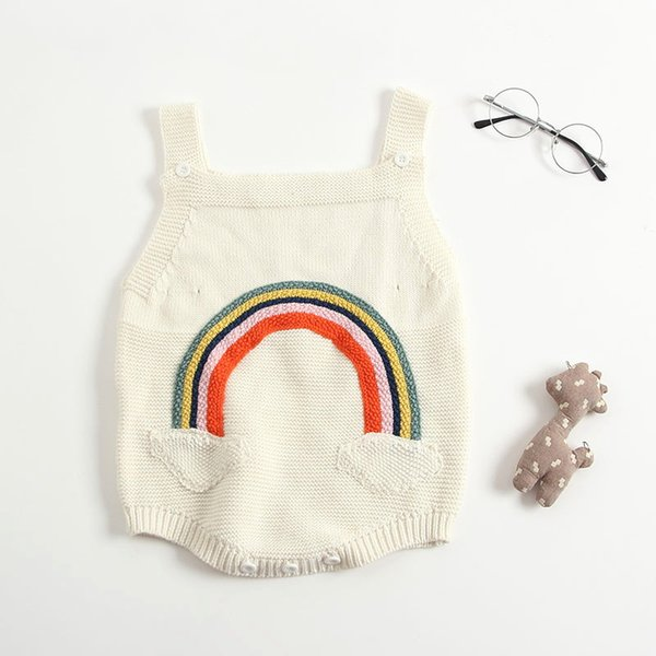 69c7c24ff6d7 Everweekend Baby Girls Rainbow Knitted Sweater Rompers Candy Beige Color  Cute Toddler Infant Baby Fashion Autumn Clothing