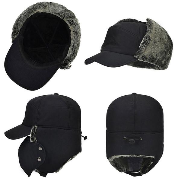 Impermeabile Trapper Super caldo Trooper Earflaps Bomber Faux Fur Lining cappello di inverno Uomini cappello del pattino Cap Donne Bomber