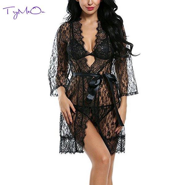 TryMeOn Frauen-reizvolle Wäsche-Schwarz-Spitze-Robe-reizvolles Kleid Heiße Erotik-plus Größen-reizvolle Nachtwäsche-Kimono-Bademantel-Kleid-Kostüm Y18102205