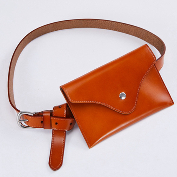 Fashion New Oil Genuine Leather Simple Waist Bags Designer Chest Bag Retro Fanny Packs Real Cow Leather Vintage Small Belt Bag
