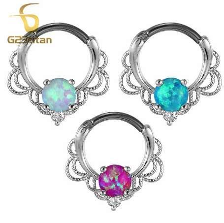 G23titan розовое золото цвет опал кольца для пирсинга перегородки серьга ухо туннель 16 г Титана Полюс натуральный опал камень перегородки кликер