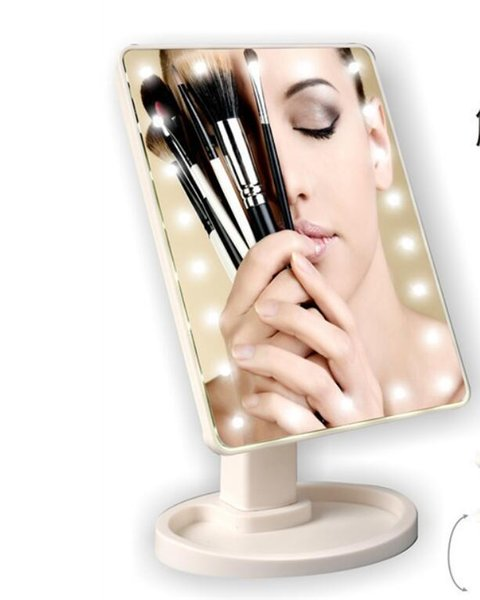 Make Up LED Mirror 360 Degree Rotation Touch Screen Make Up Cosmetic Folding Portable Compact Pocket With 22 LED Light Makeup Mirror KKA2635