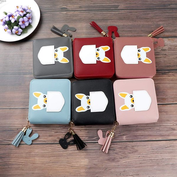 1 Pcs Fashion PU Leather Women's Short Wallet Dog Animal Pattern Zipper Long Tassel Wallet Card Holder Delicate Lady Gift