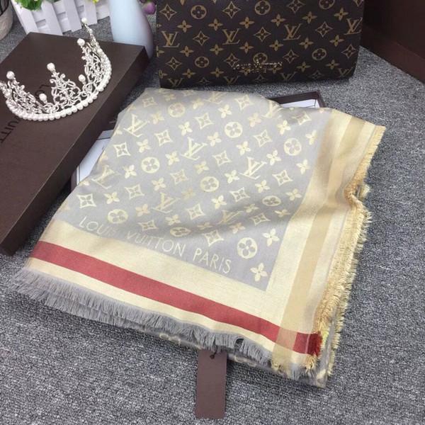 Женщина Шелковый кашемировый шарф квадратный шарф шаль обертывания 140*140 см горячие продажа письмо цветок шарф напечатаны на осень зима с коробкой L-45-883