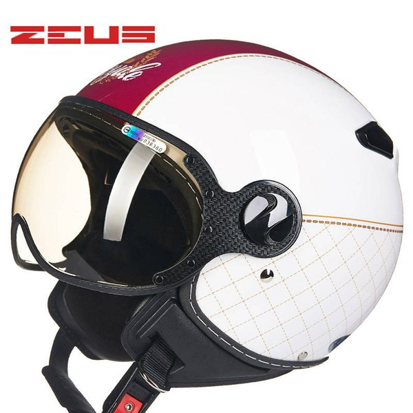 ZEUS 210C half face motorcycle helmet open face vintage retro motorbike racing helmets removable & washable liner DOT approved