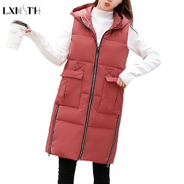 LXMSTH Antumn Winter Womens Hooded Vest 2018 Solid Slim Zipper Long Vest Pockets Waistcoat Down Cotton Parkas Outwear Jacket