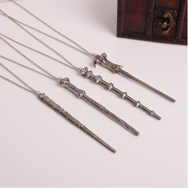 best selling Fashion film Magic wand pendant Necklace Keychain Set women Movie fan Magician creative Necklace For Men s Vintage Jewelry Gift