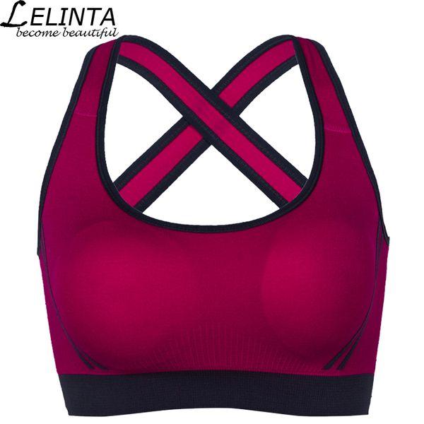 LELINTA 5 Cores Esporte Sutiã Para As Mulheres Ginásio Correndo Yoga Bra Esporte Underwear Menina Nylon Spandex Preto Branco Vermelho Amarelo Roxo