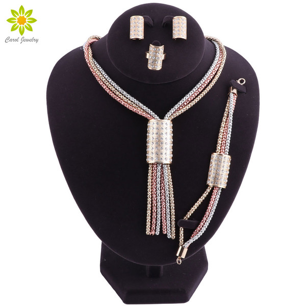 Women Jewelry Sets Gold Plated African Beads Jewelry Set Crystal Necklace Earrings Set For Bridesmaid Dubai Jewelry Sets