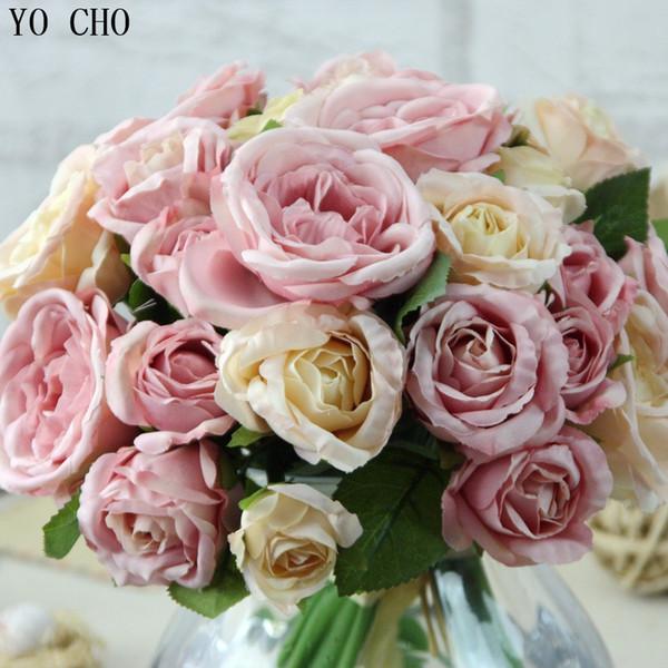 1 Bouquet 9 Heads bruidsboeket wedding flowers Artificial Peony Silk Flower bridal bouquet Wedding Home Decor party decoracion