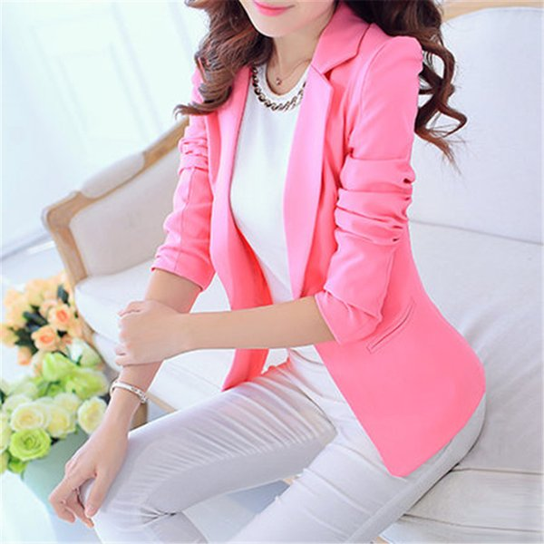 New Arrival Women Blazers And Jackets 2016 Spring Autumn Fashion Single Button Blaser Femenino White/Blue Ladies Blazer Female L18101303