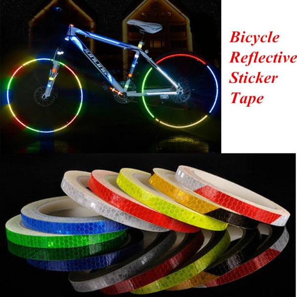 Reflective Stickers Motorcycle Bicycle Reflector Bike Cycling Security Wheel Rim Decal Tape Safer Durable Not Fade Bike Light NY031