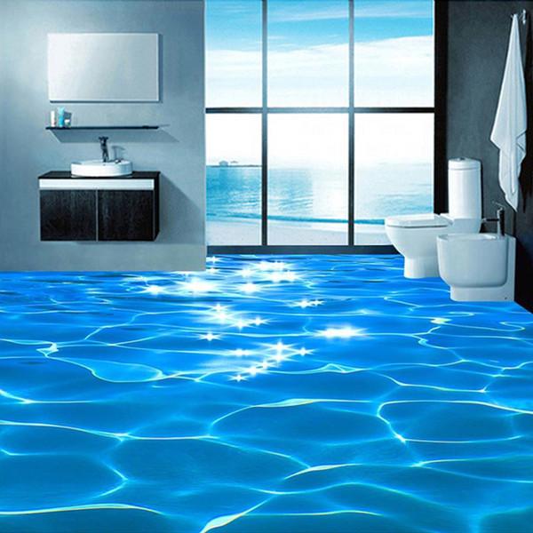 Custom Mural Wallpaper 3D Sea Wave Textured Bathroom PVC Self-adhesive Waterproof Floor Wallpaper Wall Covering Roll Home Decor
