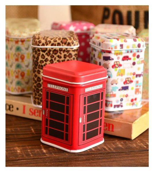 200 PCS Metal Little Tin Box Cute Caddy Cartoon Storage Practical Mini Iron Square Tin Box Free shipping