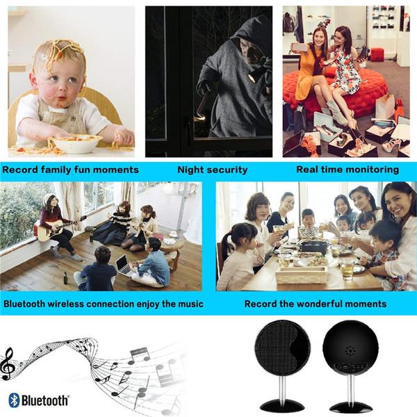 Nova 1080 P WIFI HD Cam Alto-falantes Bluetooth Câmera de Segurança Sem Fio Mini Câmera de Detecção de Movimento Gravador de Vídeo Nanny Cam APP em Tempo Real vista