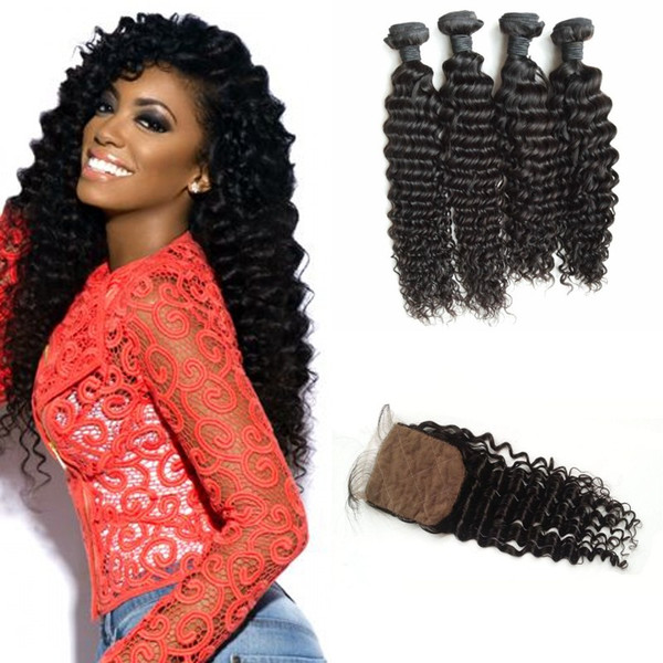 4*4inch Virgin Deep Wave Silk Base Closure With Bundles Unprocessed Human Hair Extensions Tangle Free 8-30inch LaurieJ Hair
