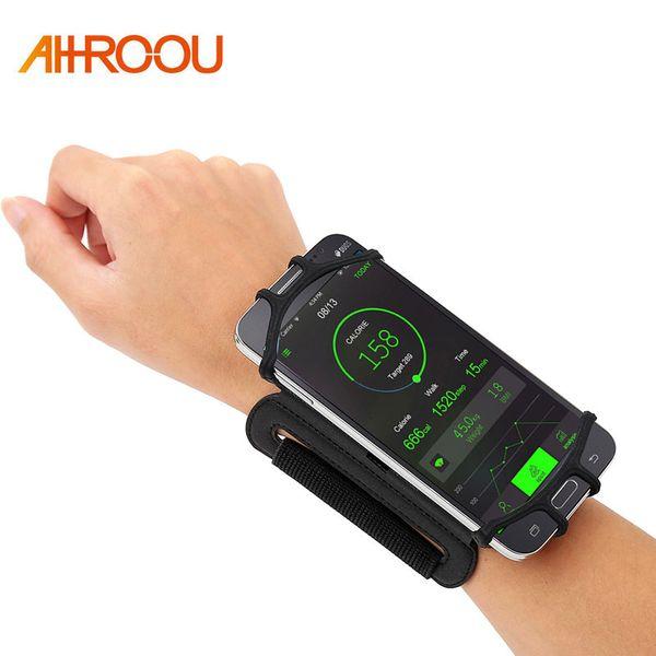 4-6 pouces Running Phone Wristband 180 degrés Rotable Sac de course Ceinture Bracelet Poignet Jogging Cyclisme Gym Arm Band Sac pour