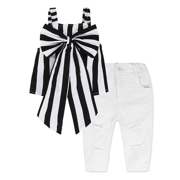 1-7T Girls INS striped outfits 2pc sets black white stripe big bow suspender tops+white distressing trousers fashion retro kids clothing