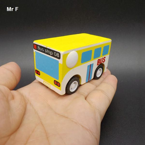 Requintado mini pull back car engraçado modelo de ônibus de madeira toys melhores presentes para as crianças que aprendem o ensino educativo prop gadget